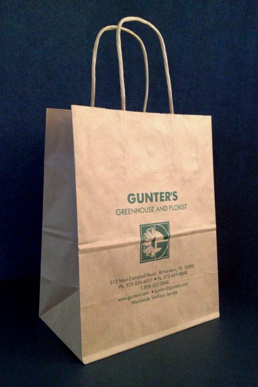 Gunter's retail bag -tan kraft paper shopper ink printed