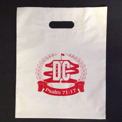 "DC Psalm 71:17 - 12x 15""-White Patch handle bag printed red ink"