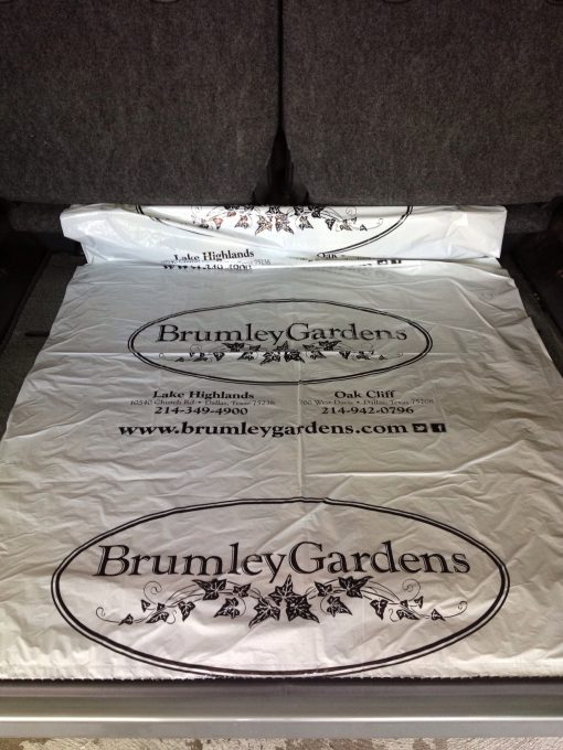 Brumley Gardens trunk liner - white film printed black ink