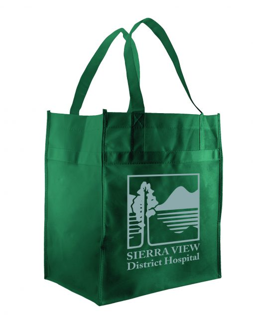 Dark Green non-woven econo Grocery totes screen printed-sham